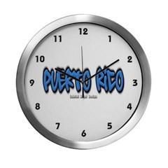 Puerto Rico Graffiti Modern Wall Clock