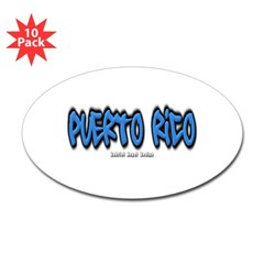 Puerto Rico Graffiti Oval Decal 10 Pack