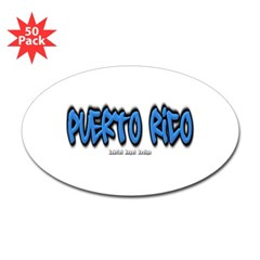 Puerto Rico Graffiti Oval Decal 50 Pack
