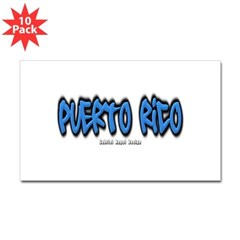 Puerto Rico Graffiti Rectangle Decal 10 Pack