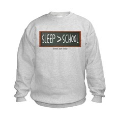 Sleep is Greater than School Kids Crewneck Sweatshirt by Hanes