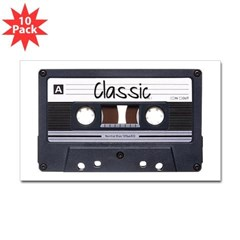 Classic Cassette Rectangle Decal 10 Pack