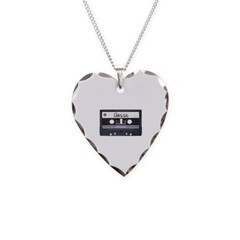 Classic Cassette Tape Necklace with Heart Pendant