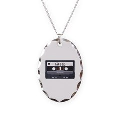 Classic Cassette Tape Necklace with Oval Pendant
