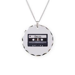 Classic Cassette Tape Necklace with Round Pendant