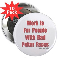 """Bad Poker Faces 2.25"""" Buttons 10 Pack"""