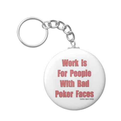 Bad Poker Faces Basic Button Keychain