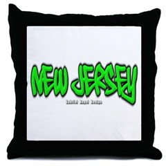 New Jersey Graffiti Throw Pillow