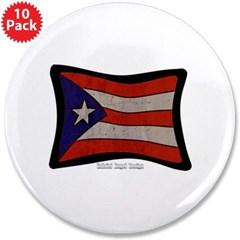 "Puerto Rico Flag Graffiti 3.5"" Button (10 pack)"
