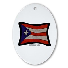 Puerto Rico Flag Graffiti Ornament (Oval)