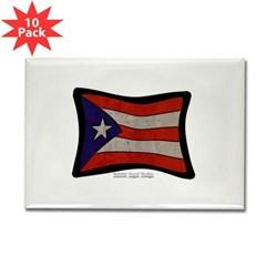 Puerto Rico Flag Graffiti Rectangle Magnets 10 pack