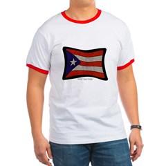 Puerto Rico Flag Graffiti Ringer T-Shirt