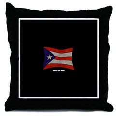 Puerto Rico Flag Graffiti Throw Pillow