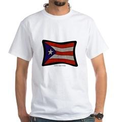 Puerto Rico Flag Graffiti White T-Shirt