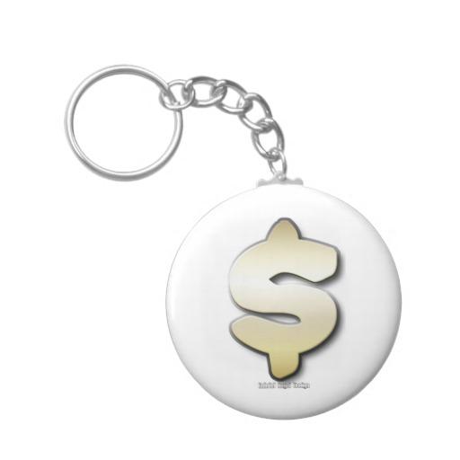 Golden Dollar Sign Basic Button Keychain