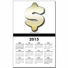 Golden Dollar Sign Calendar Print
