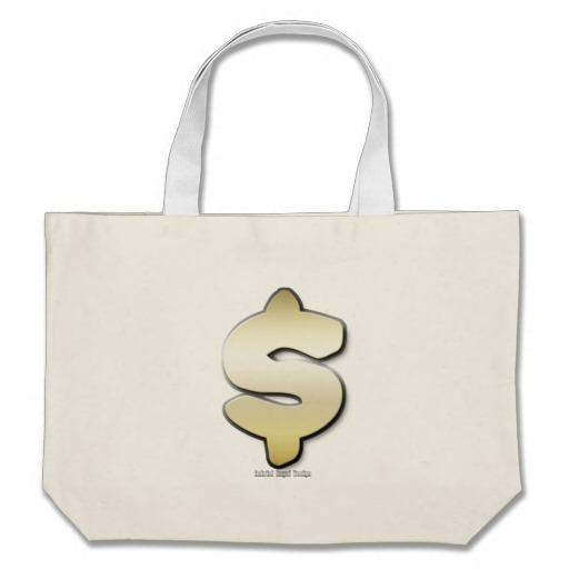 Golden Dollar Sign Jumbo Tote
