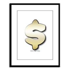 Golden Dollar Sign Large Framed Print