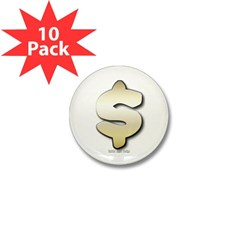 Golden Dollar Sign Mini Button (10 pack)