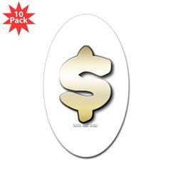 Golden Dollar Sign Oval Sticker (10 pk)