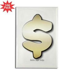 Golden Dollar Sign Rectangle Magnet (100 pack)