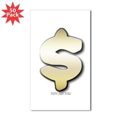 Golden Dollar Sign Rectangle Sticker 50 pk)