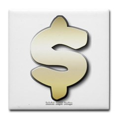 Golden Dollar Sign Tile Coaster