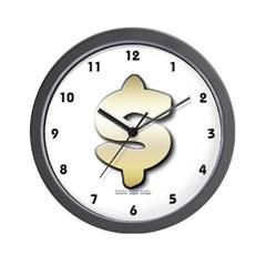 Golden Dollar Sign Wall Clock