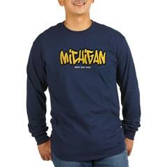 Michigan Graffiti Long Sleeve Dark T-Shirt