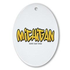 Michigan Graffiti Ornament (Oval)