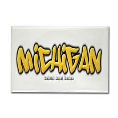 Michigan Graffiti Rectangle Magnet