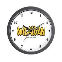 Michigan Graffiti Wall Clock