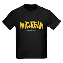 Michigan Graffiti Youth Dark T-Shirt by Hanes