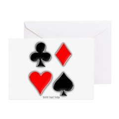 Playing Card Suits Greeting Cards (Pk of 10)