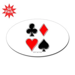 Playing Card Suits Oval Sticker (50 pk)