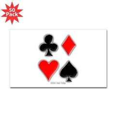 Playing Card Suits Rectangle Sticker 50 pk)