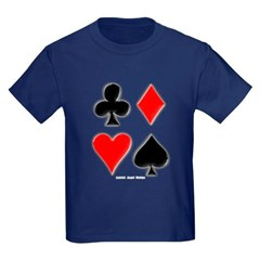 Playing Card Suits Youth Dark T-Shirt by Hanes