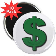 "Green Dollar Sign 2.25"" Magnet (10 pack)"