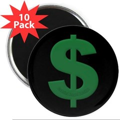 "Green Dollar Sign 2.25"" Magnet (10 pack)"