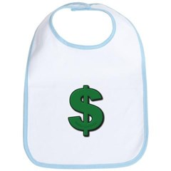 Green Dollar Sign Baby Bib