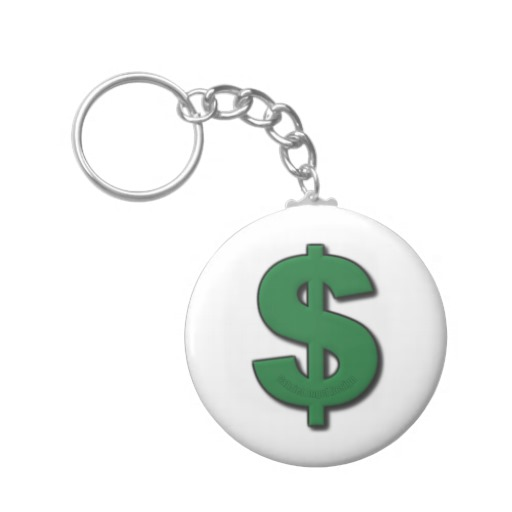 Green Dollar Sign Basic Button Keychain