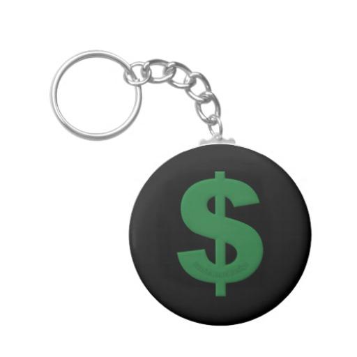 Green Dollar Sign Basic Button Keychain