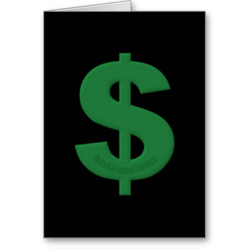 Green Dollar Sign Greeting Card