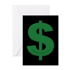 Green Dollar Sign Greeting Cards (Pk of 10)
