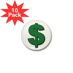 Green Dollar Sign Mini Button (10 pack)