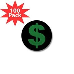 Green Dollar Sign Mini Button (100 pack)