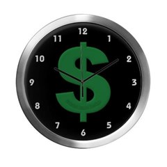 Green Dollar Sign Modern Wall Clock