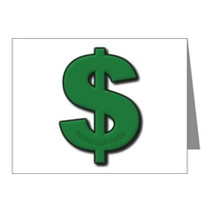 Green Dollar Sign Note Cards (Pk of 20)