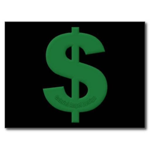 Green Dollar Sign Postcard
