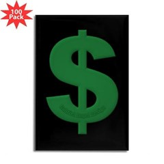 Green Dollar Sign Rectangle Magnet (100 pack)